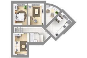 ЖК На Щасливому, дом 28: планировка 3-комнатной квартиры 84.8 м²