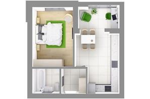 ЖК На Щасливому, дом 29: планировка 1-комнатной квартиры 41.6 м²