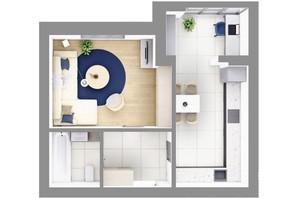 ЖК На Щасливому, дом 29: планировка 1-комнатной квартиры 48 м²
