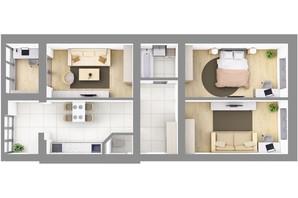 ЖК На Щасливому, дом 29: планировка 3-комнатной квартиры 86.6 м²