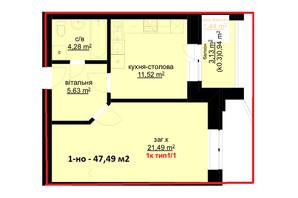 ЖК Набережний: планування 1-кімнатної квартири 47.49 м²