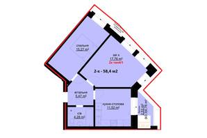 ЖК Набережний: планування 2-кімнатної квартири 58.4 м²