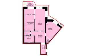 ЖК Набережний: планування 2-кімнатної квартири 75.11 м²