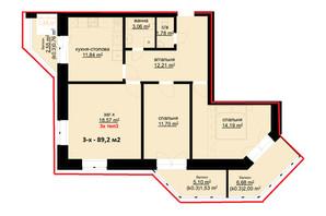 ЖК Набережний: планування 3-кімнатної квартири 89.2 м²