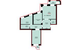 ЖК Набережний: планування 3-кімнатної квартири 123.61 м²
