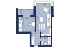 ЖК Набережный: планировка 1-комнатной квартиры 44.8 м²