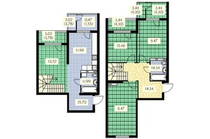ЖК Набережный: планировка 4-комнатной квартиры 142 м²