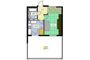 ЖК Набережний: планування 1-кімнатної квартири 50.8 м²