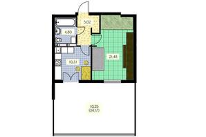 ЖК Набережный: планировка 1-комнатной квартиры 51.86 м²