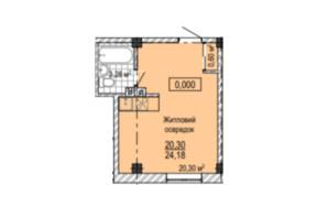 ЖК Надія: планування 1-кімнатної квартири 24.6 м²