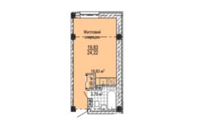 ЖК Надия: планировка 1-комнатной квартиры 25.6 м²