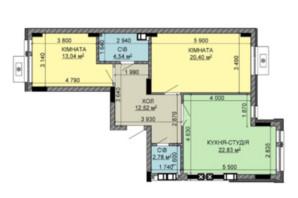 ЖК Найкращий квартал-2: планування 2-кімнатної квартири 76.11 м²