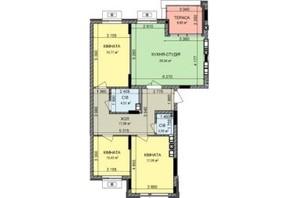 ЖК Найкращий квартал-2: планування 3-кімнатної квартири 97.56 м²