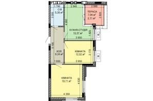 ЖК Найкращий квартал-2: планування 3-кімнатної квартири 64.45 м²