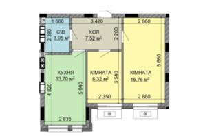 ЖК Найкращий квартал-2: планировка 2-комнатной квартиры 50.25 м²