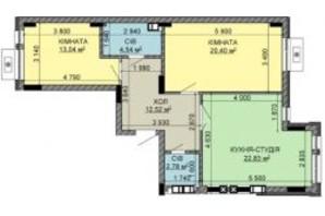 ЖК Найкращий квартал-2: планировка 2-комнатной квартиры 76.41 м²