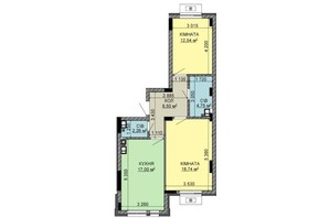ЖК Найкращий квартал-2: планировка 2-комнатной квартиры 60.94 м²