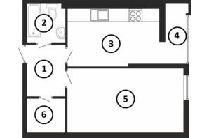 ЖК Національний: планування 1-кімнатної квартири 55 м²