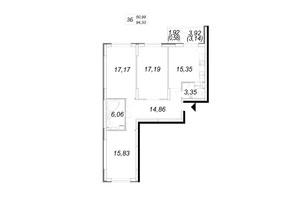ЖК Navigator (Навігатор): планування 3-кімнатної квартири 94.33 м²