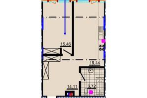 ЖК Небо: планування 1-кімнатної квартири 57.09 м²
