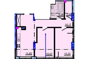 ЖК Небо: планування 2-кімнатної квартири 71.44 м²