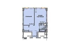 ЖК Neboshill: планировка 1-комнатной квартиры 44.6 м²