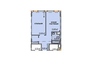 ЖК Neboshill: планировка 1-комнатной квартиры 44 м²