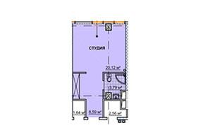 ЖК Neboshill: планування 1-кімнатної квартири 33.22 м²