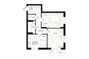 ЖК New York Concept House: планування 2-кімнатної квартири 61.21 м²
