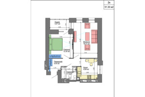 ЖК Nikostar Comfort+: планування 2-кімнатної квартири 51.77 м²