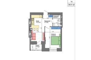 ЖК Nikostar Comfort+: планировка 1-комнатной квартиры 38.61 м²