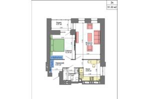 ЖК Nikostar Comfort+: планировка 2-комнатной квартиры 51.77 м²