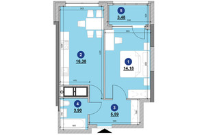 ЖК Nordica Residence: планировка 1-комнатной квартиры 43.53 м²