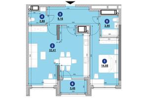 ЖК Nordica Residence: планировка 1-комнатной квартиры 66.45 м²