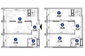 ЖК Nordica Residence: планировка 4-комнатной квартиры 136.09 м²