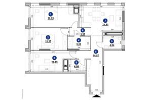 ЖК Nordica Residence: планировка 3-комнатной квартиры 106.03 м²