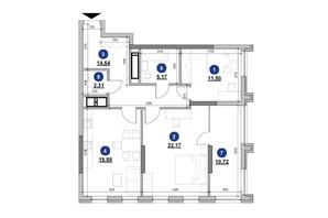 ЖК Nordica Residence: планировка 2-комнатной квартиры 86.09 м²