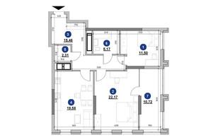 ЖК Nordica Residence: планировка 2-комнатной квартиры 86.91 м²