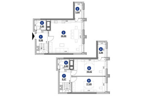 ЖК Nordica Residence: планировка 2-комнатной квартиры 102.49 м²