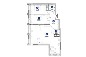 ЖК Nordica Residence: планировка 2-комнатной квартиры 114.54 м²
