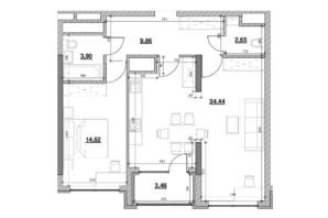 ЖК Nordica Residence: планування 1-кімнатної квартири 68.97 м²