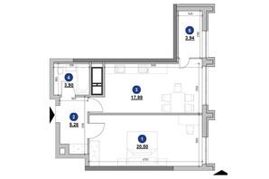 ЖК Nordica Residence: планування 1-кімнатної квартири 51.59 м²