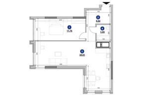 ЖК Nordica Residence: планування 1-кімнатної квартири 68.9 м²