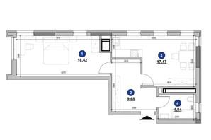 ЖК Nordica Residence: планування 1-кімнатної квартири 50.41 м²