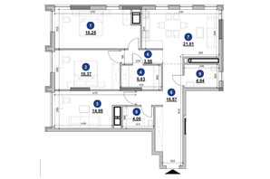 ЖК Nordica Residence: планування 3-кімнатної квартири 106.03 м²