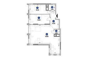 ЖК Nordica Residence: планування 2-кімнатної квартири 114.54 м²