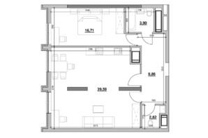 ЖК Nordica Residence: планування 1-кімнатної квартири 72.68 м²
