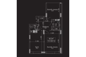 ЖК Нова Буча: планування 2-кімнатної квартири 60.2 м²