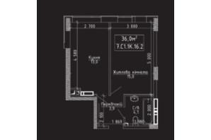 ЖК Нова Буча: планування 1-кімнатної квартири 36 м²
