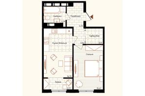 ЖК Новая Англия: планировка 1-комнатной квартиры 50 м²